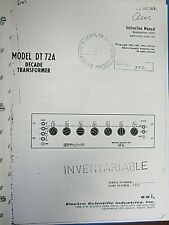 Electro Scientific Model Dt 72a Decade Transformer Instruction Manual