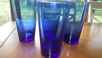 Cobalt Blue Tumblers Coolers Glasses flat Bottom tumblers 4 16oz drinking glass