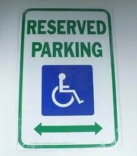 Metal Green And Blue Reserved Handicap Parking Sign
