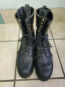 Custom Made in Montana Leather Lace Up Boots Biker Logger Punk Men's Size 11
