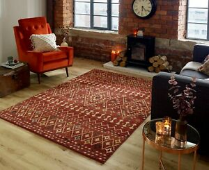 Nova Odine Red Coloured Abstract Tribal Style Rug in various sizes