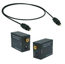 Koaxial zu Optisch(Toslink) Konverter + 1,8m Toslink + Netzteil + USB-DC Kabel