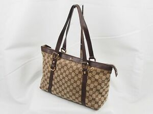 【Rank B】Auth GUCCI Vintage Tote Hand Bag GG PVC Leather Japan A081
