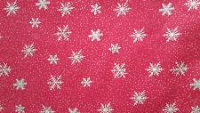Coupon tissu noel patchwork rouge etoiles dorées N-33