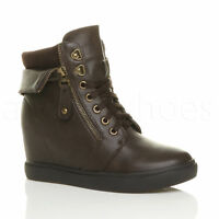 WOMENS LADIES MID CONCEALED WEDGE HEEL KNITTED COLLAR ANKLE BOOTS TRAINERS SIZE