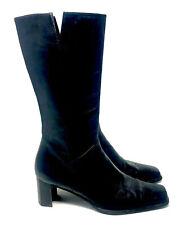Stuart Weitzman Lambskin Boots Womens Black Leather MidCalf Zip Heels 8.5N EUC