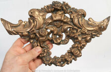 Antique Cast Brass Large Applique off Furniture / Fireplace Sea Scrolls Garlands