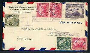 Nicaragua Postal History: LOT #17 1934 Multifranked Air MANAGUA - NOTTINGHAM $$$