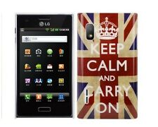 Cover Custodia Per Lg L5 E610 E612 Rigida Bandiera UK Keep Calm and carry on