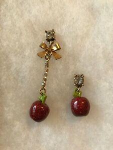 Betsey Johnson Mismatched Red Apple Faux Diamond Post Drop Earrings