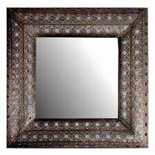 BNWT Moroccan Oriental Dark Copper Metal Square Ornate Hall Mirror NEW 56cm Gift