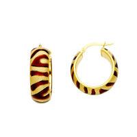 14K Yellow Gold 8mm Hollow Hoop Earrings for women Diameter - 20 MM
