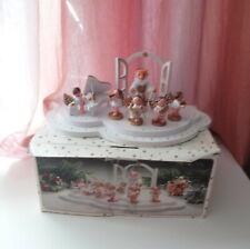 Antique German Wood Display Figurines Petrus Mit Angel Capelle Xmas Original Box