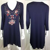 NWT $158 Caite Small Embroidered Navy Jersey Floral Tunic Dress Anthropologie
