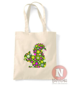 Squirrel tote bag floral design flowers shopping 100% cotton environmental
