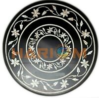 """20"""" Black Marble Side Coffee Table Top Mother of Pearl Floral Inlay Decors B666"""
