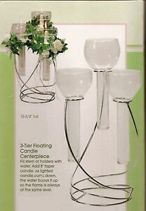 Wedding Triple Glass/Metal candle holder set