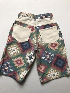 Vtg Niki Lee California Sz 3 Very High Waisted Aztec Tribal Print Bermuda Shorts