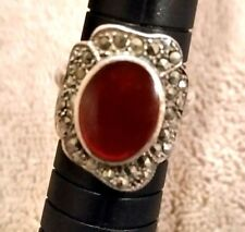 Antique Carnelian & Marcasite Art Decco Sterling Silver Ring Size 6 1/2