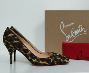 New sz 7.5 / 37.5 Christian Louboutin Clare Leopard print Pointed Toe Pump Shoes