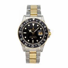 Rolex GMT Master Auto Steel Yellow Gold Mens Oyster Bracelet Watch Date 16753