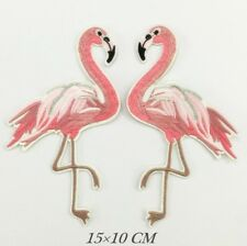 2 Flamingo Embroidered Patches Facing Each Other Iron On Customise It