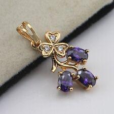 Elegant Purple Amethyst Fashion Jewelry Gift Yellow Gold Filled Pendant d023