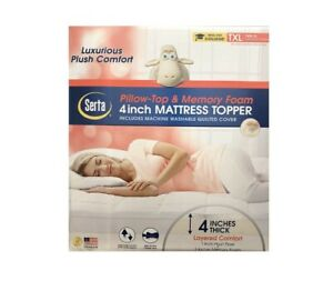 Serta Pillow Top Memory Foam Mattress Topper 4 inch Twin XL 39in x 80in x 4in