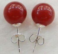 New 10mm Jewelry Red ruby Jade & Sterling Silver Stud Earrings