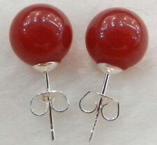 2pcs 10mm Jewelry Red ruby Jade & Sterling Silver Stud Earrings