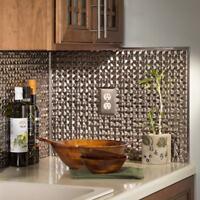 Kitchen Backsplash Decorative Vinyl Panel Wall Tiles Bath Bathroom Metal Silver