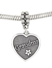 STERLING SILVER DANGLING GRANDMOTHER GRANDMA HEART EUROPEAN BEAD CHARM
