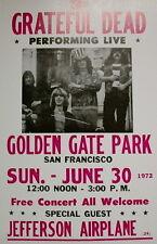 "Grateful Dead Concert Poster - 1972 w/ Jefferson Airplane Free Concert - 14""x22"""