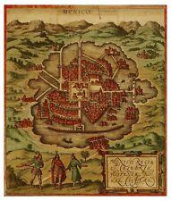 Mexico Aztec Tenochtitlan bird's-eye view map Hogenberg Braun ca.1572