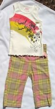 Girls OshKosh plaid Capri Pants Butterfly Cloud Tank shirt Set Outfit Lot 4 NWT