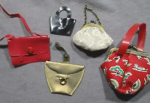 Lot of Vintage Doll Accessories - 5 Purses - Different Styles & Sizes