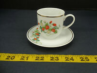 Vintage 1978 Avon Fine Porcelain 22K Gold Trim Strawberries Tea Cup Plate Set