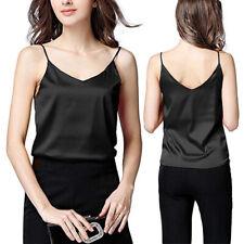 Women Tank Top V Neck Sleeveless Satin Silk T-shirt Camisole Casual Summer Vest