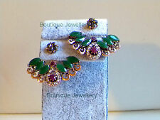 Bollywood Jewellery,Indian ethnic cuff earrings,Polki Emerald jhumka Bali,studs