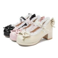 Womens Lolita Bowknot Block Mid Heels Round Toe Mary Jane Kawaii Girl Sweet Shoe