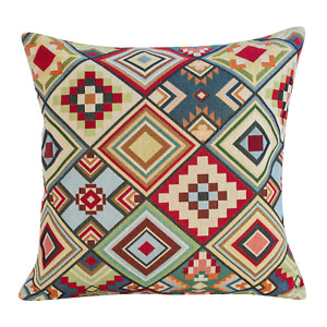 "Geometric Tapestry Aztec Cushion. Double Sided. 17x17"". Red, green, blue."