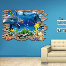 Sea Whale Fish 3D DIY Wall Stickers Removable Decoration Decals For Kids Room