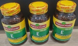 3 x Nature Made Vitamin E 180 mg Dietary Supplement 180 Liquid Softgels EXP 2024