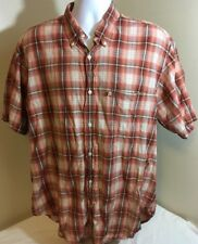 VTG Ralph Lauren Jeans Co Mens Burnt Orange Plaid Shirt 100% Cotton XL Flag Logo