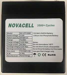 Lithium LifePO4 12V 6Ah Battery Razor Crazy art shift 2.0 MX125 PowerRider 360