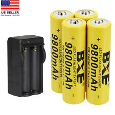 Rechargeable 18650 Battery 3.7V Li-ion Batteries with US Charger for Flashlight