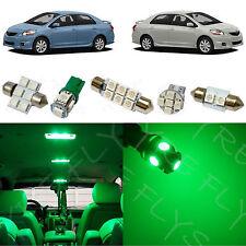 6x Green LED lights interior package kit for 2007-2012 Toyota Yaris Sedan TY1G