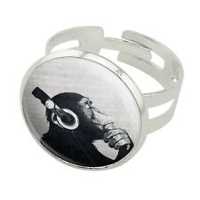 Headphone Chimp Monkey Wall Silver Plated Adjustable Novelty Ring