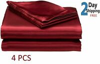 SATIN SHEETS QUEEN Size Soft Silk Feel Bedding 4pc Set Luxury Bed Linen BURGUNDY