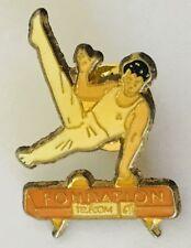 Fondation Telecom Pommel Horse Gymnastics Advertising Pin Badge Vintage (C19)